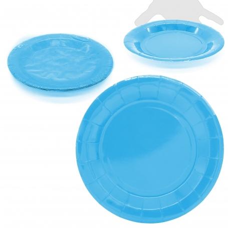 Pack de Platos Grandes de Cartón de Color Azul  Menaje