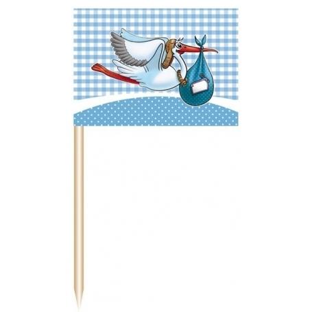 Palillos de Decoración con Cigueña Banderines y Guirnaldas para