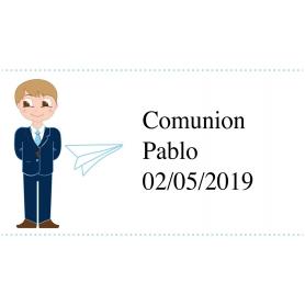 Adhesivo Personalizado de Comunión Niño