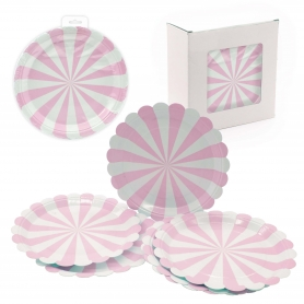 Pack plato desechable rosa
