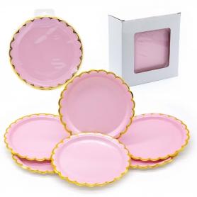 Pack platos cartón rosa