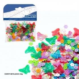 Confeti mariposa y flores