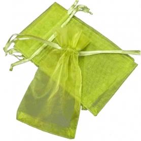 Saquito de organza verde oscuro 7 x 10