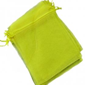 Saquito de organza amarilla 7 x 10