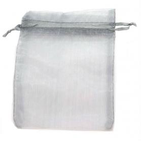 Bolsa de organza gris plata 13 x 17