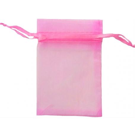 Bolsa de organza rosa chicle 9 x 15