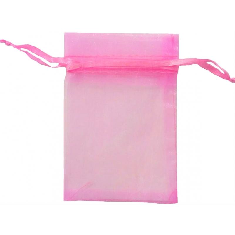 Saquito de organza rosa chicle 7 x 10
