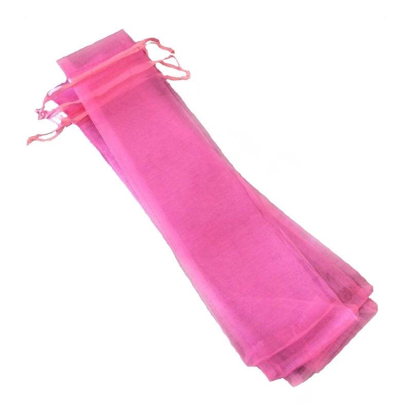 Bolsa de organza para abanicos rosa chicle