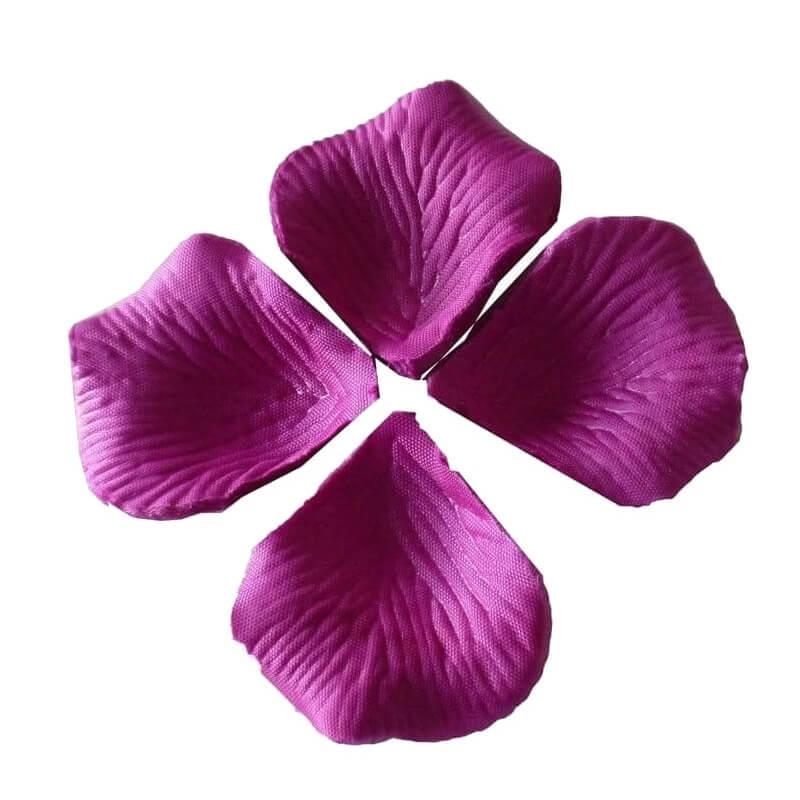 Pétalos de rosa artificiales morados