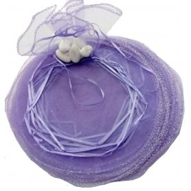 Bolsa de organza para arroz color lila oscuro