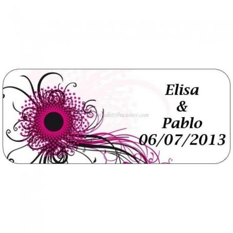 Etiqueta Adhesiva Flor Abstracta  Etiquetas