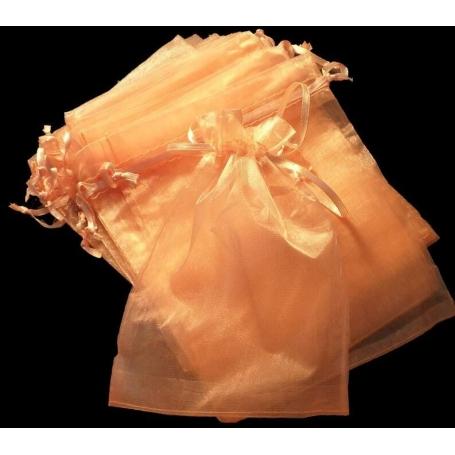 Bolsa de organza para detalles naranja claro 15 x 20  Bolsas de