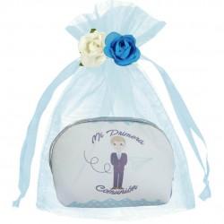 Monedero comunión niño con bolsa y flores