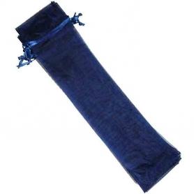 Bolsa de organza para abanicos azul marino