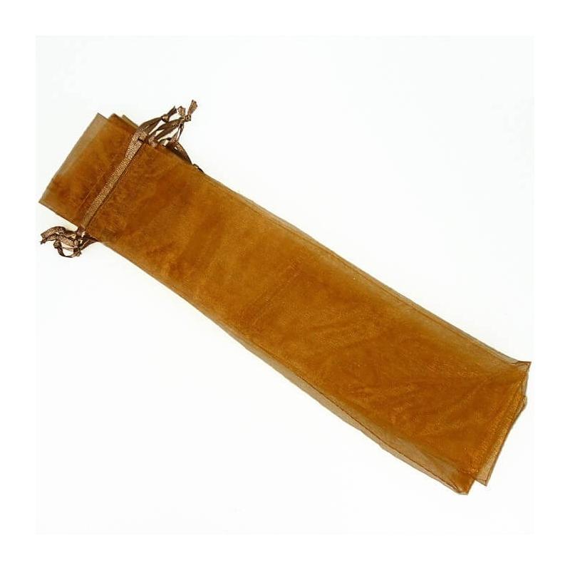 Bolsa de organza para abanicos chocolate  Bolsas de organza