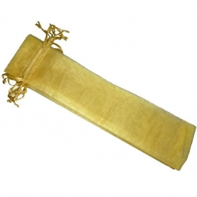 Bolsa de organza para abanicos dorada