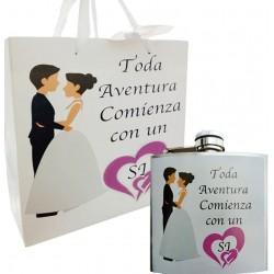 Petaca regalo boda con bolsa