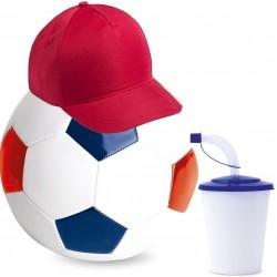 Balón de futbol con vaso y...