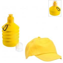 Bidón para agua y gorra amarilla para niños