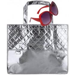 Bolso plateado con gafas de sol rojas para chicas
