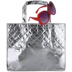 Bolso plateado con gafas de...
