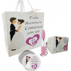 Set de regalo en bolsa para boda con espejo, monedero y...