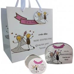 Set regalo para bodas con espejo, monedero y bolsa
