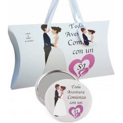 Regalo para bodas, espejo y caja personalizada