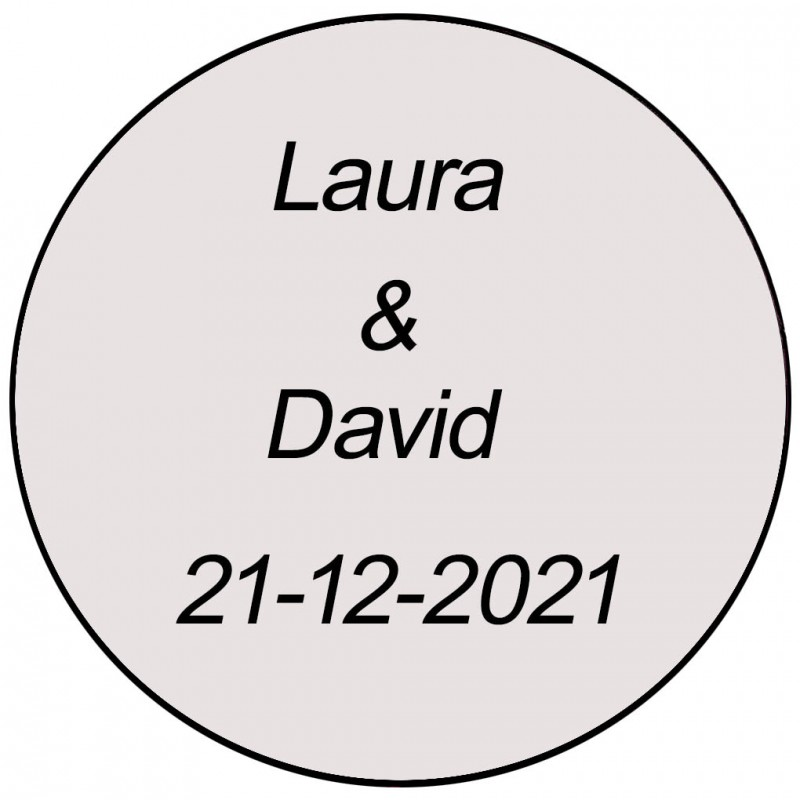 Adhesivo transparente redondo con dos nombres y fecha