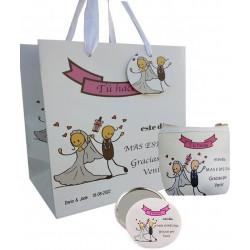 Set regalo de bodas, monedero, espejo y bolsa personalizada