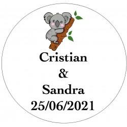 Adhesivo Koala para boda personalizado con nombres y fecha