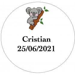 Adhesivo koala para personalizar con nombre y fecha