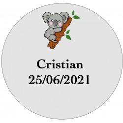 Adhesivo koala transparente personalizado con nombre y fecha