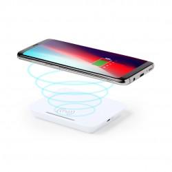 Cargador inalámbrico blanco con soporte para smartphone