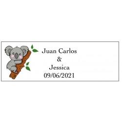 Adhesivo koala rectangular para bodas personalizado