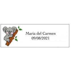 Adhesivo koala rectangular personalizado con nombre y fecha