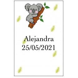 Adhesivo koala personalizado con nombre y fecha