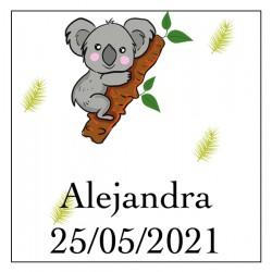 Adhesivo koala cuadrado para personalizar con nombre y fecha