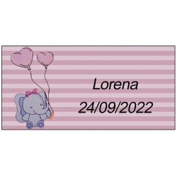 Adhesivo elefante rosa, personalizado para bautizo