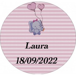 Adhesivo elefante rosa, redondo personalizado para bautizo