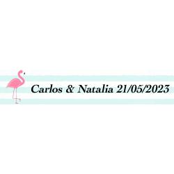 Adhesivo flamenco, rectangular personalizado para bodas