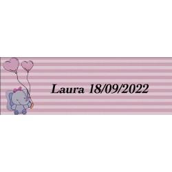 Adhesivo elefante rosa, rectangular personalizado