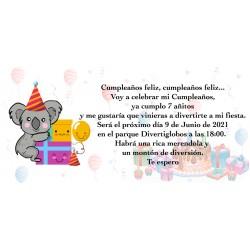 Invitación koala personalizada para cumpleaños