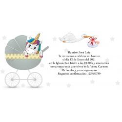 Invitación unicornio personalizada para bautizos