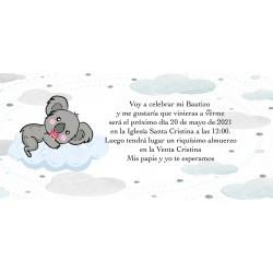 Invitación koala personalizada para bautizos