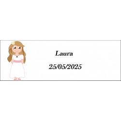 Adhesivo comunión niña, rectangular personalizado
