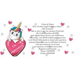 Invitación unicornio corazones, personalizada para bodas