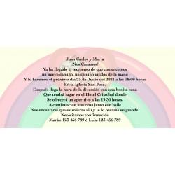 Invitación unicornio arcoíris, personalizada para bodas