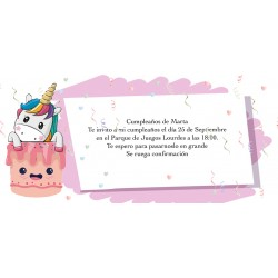 Invitación unicornio personalizada para cumpleaños