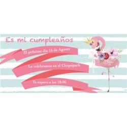 Invitación flamenco personalizada para cumpleaños